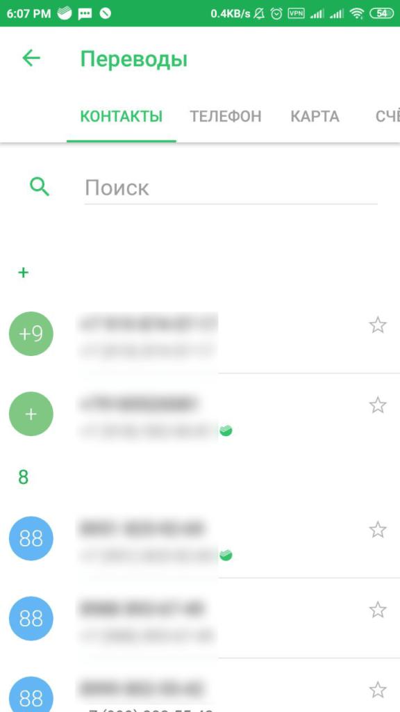 Перевод через мобильное приложение сбербанка на карту сбербанка контакты