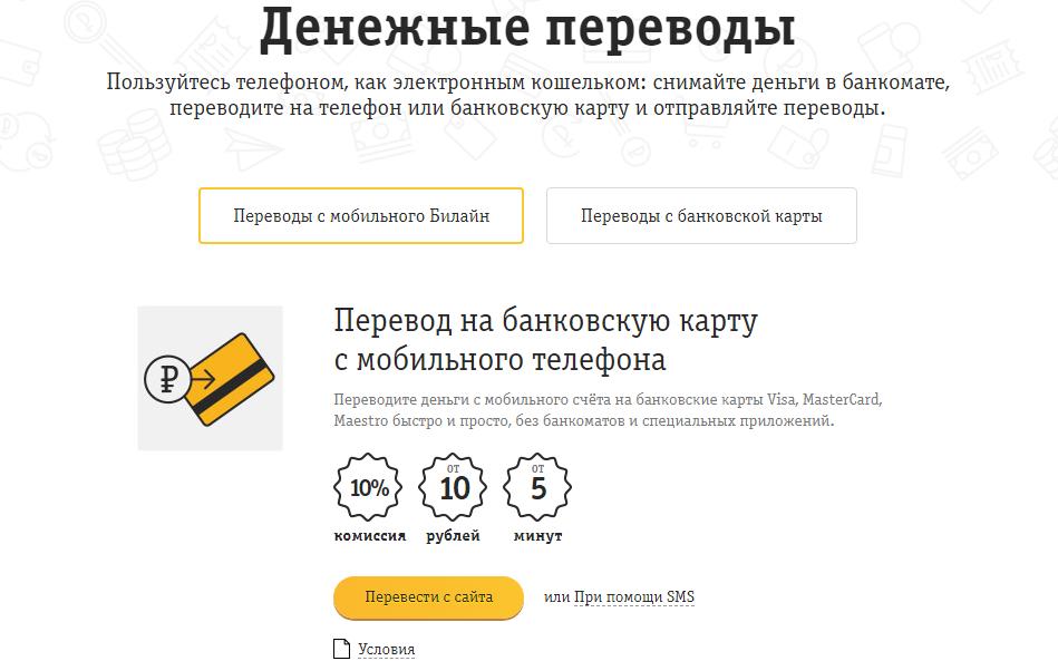 Перевод денег через официальный сайт