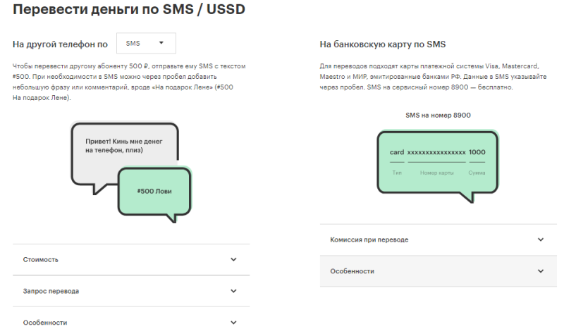 Перевод денег по SMS / USSD